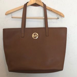 MK Michael Kors Brown Leather Saffiano Tote